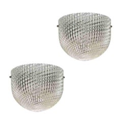 1950 Pair of Crystal Textured Murano Glass Sconces attributed to Barovier Toso