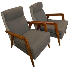 1950 Pair of French Oak Armchairs