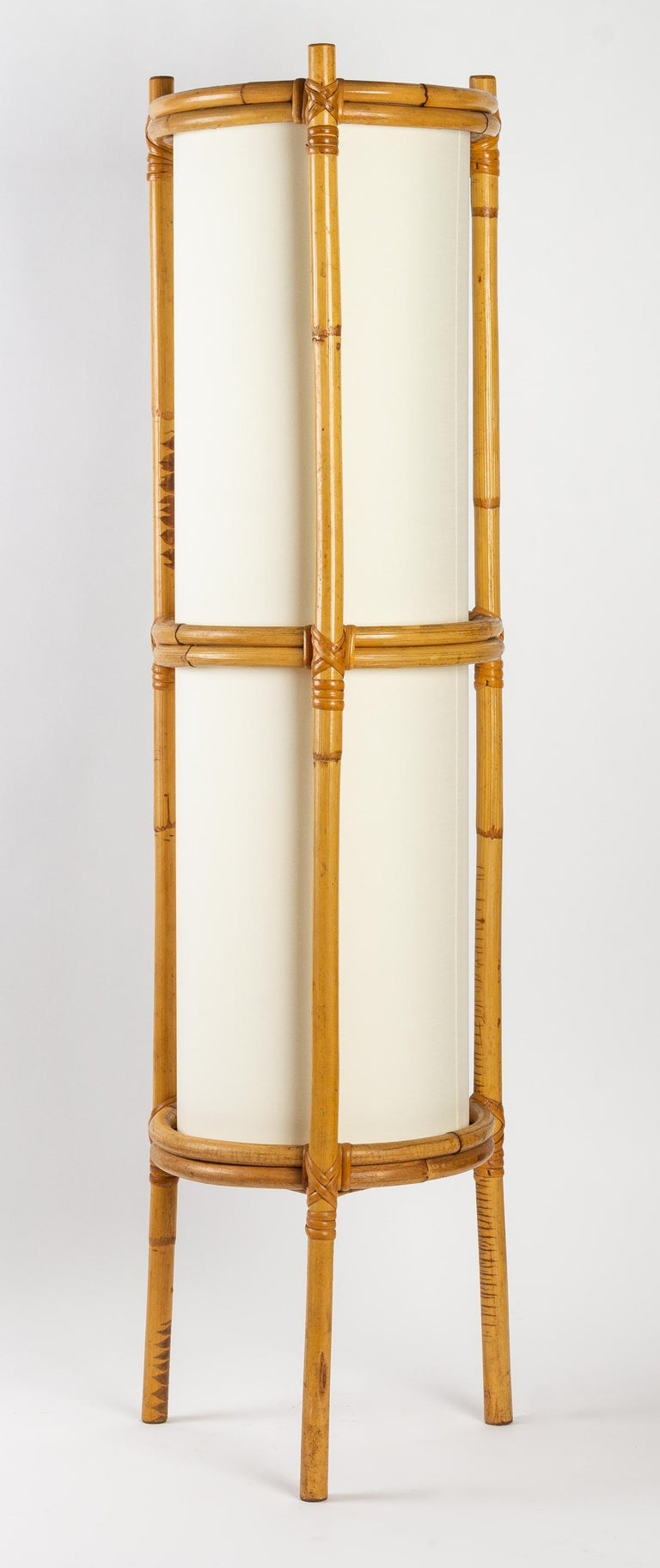1950 Pair of Louis Sognot Bamboo Floor Lamps For Sale 1