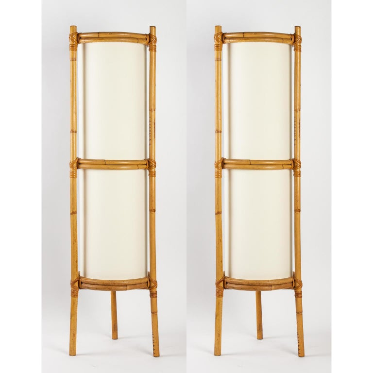 1950 Pair of Louis Sognot Bamboo Floor Lamps For Sale 4