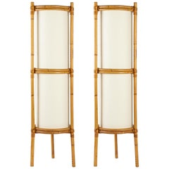 1950 Pair of Louis Sognot Bamboo Floor Lamps