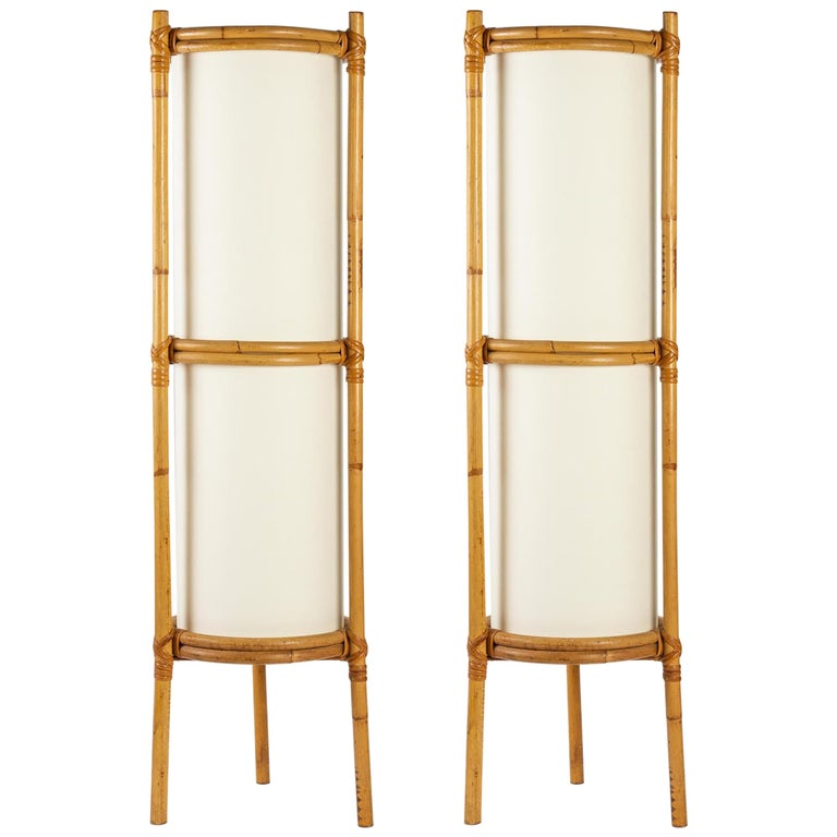 1950 Pair of Louis Sognot Bamboo Floor Lamps For Sale