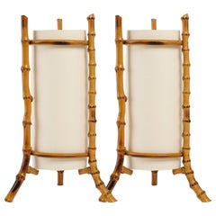 1950 Pair of Louis Sognot Bamboo Lamps
