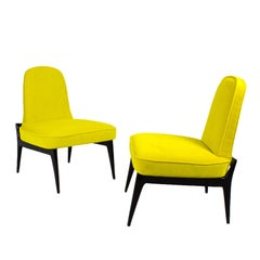 1950 Pair of Low Chairs, Yellow Velvet, Solid Mahogany Feet and Back, Italy