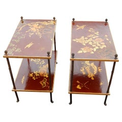 1950 Pair of Tables Bamboo Decor in Gilt Bronze and Chinese lacquer