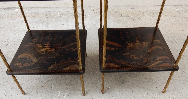 1950 ′ Pair of Maison Baguès Tables with Palm Tree Gilt Bronze + China Lacquer For Sale 4