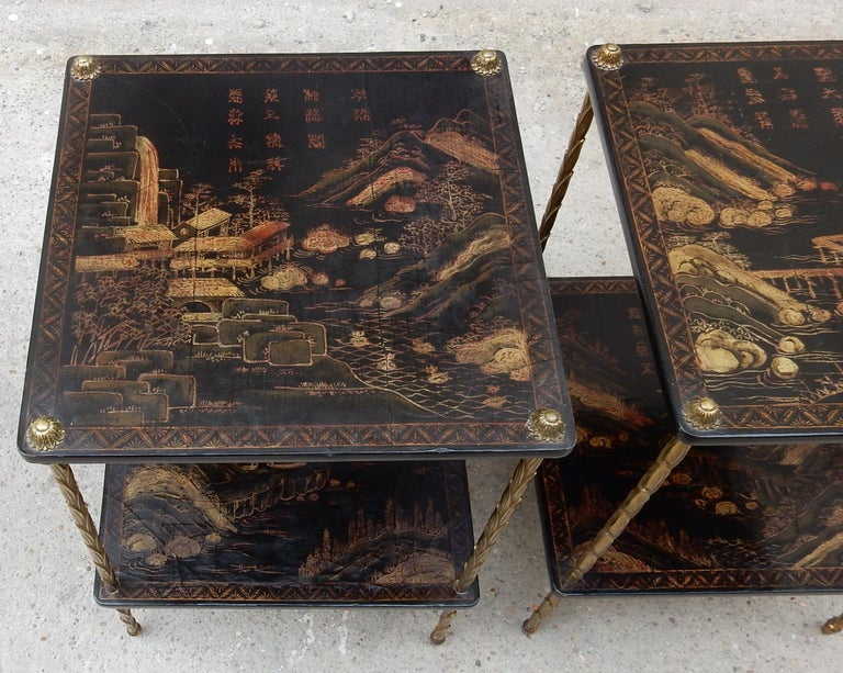 1950 ′ Pair of Maison Baguès Tables with Palm Tree Gilt Bronze + China Lacquer For Sale 5