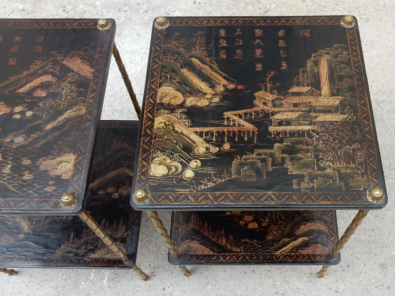 1950 ′ Pair of Maison Baguès Tables with Palm Tree Gilt Bronze + China Lacquer For Sale 6