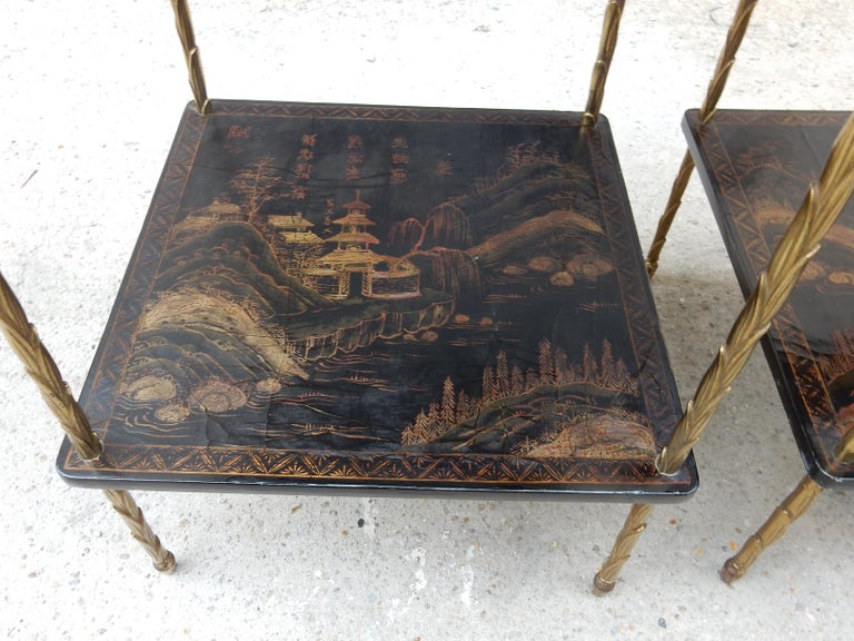 1950 ′ Pair of Maison Baguès Tables with Palm Tree Gilt Bronze + China Lacquer For Sale 7