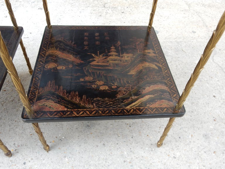 1950 ′ Pair of Maison Baguès Tables with Palm Tree Gilt Bronze + China Lacquer For Sale 8