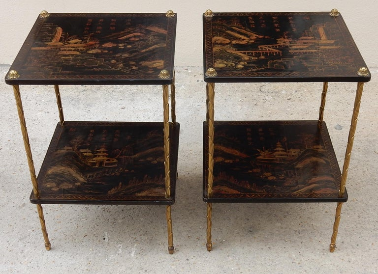 1950 ′ Pair of Maison Baguès Tables with Palm Tree Gilt Bronze + China Lacquer For Sale 9