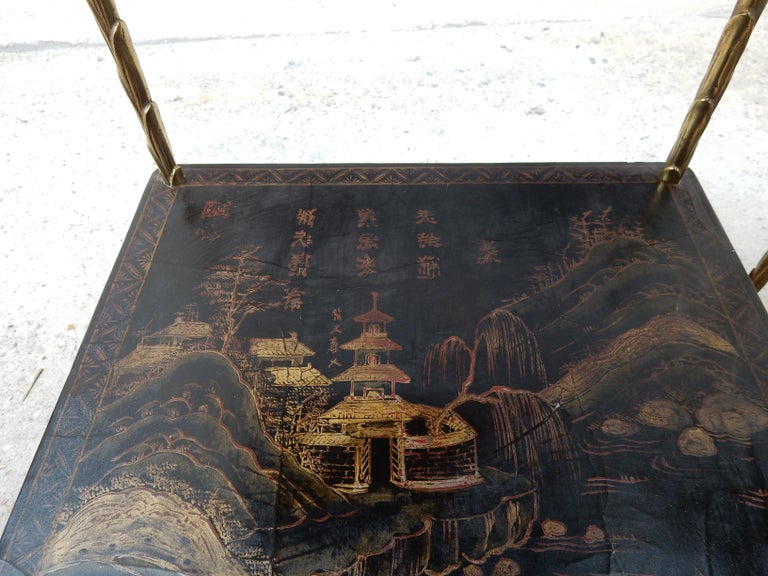1950 ′ Pair of Maison Baguès Tables with Palm Tree Gilt Bronze + China Lacquer For Sale 12