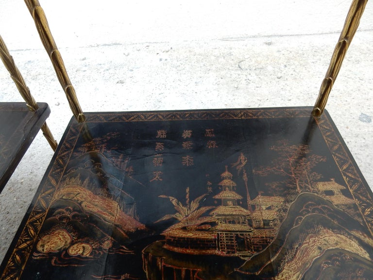 1950 ′ Pair of Maison Baguès Tables with Palm Tree Gilt Bronze + China Lacquer For Sale 14