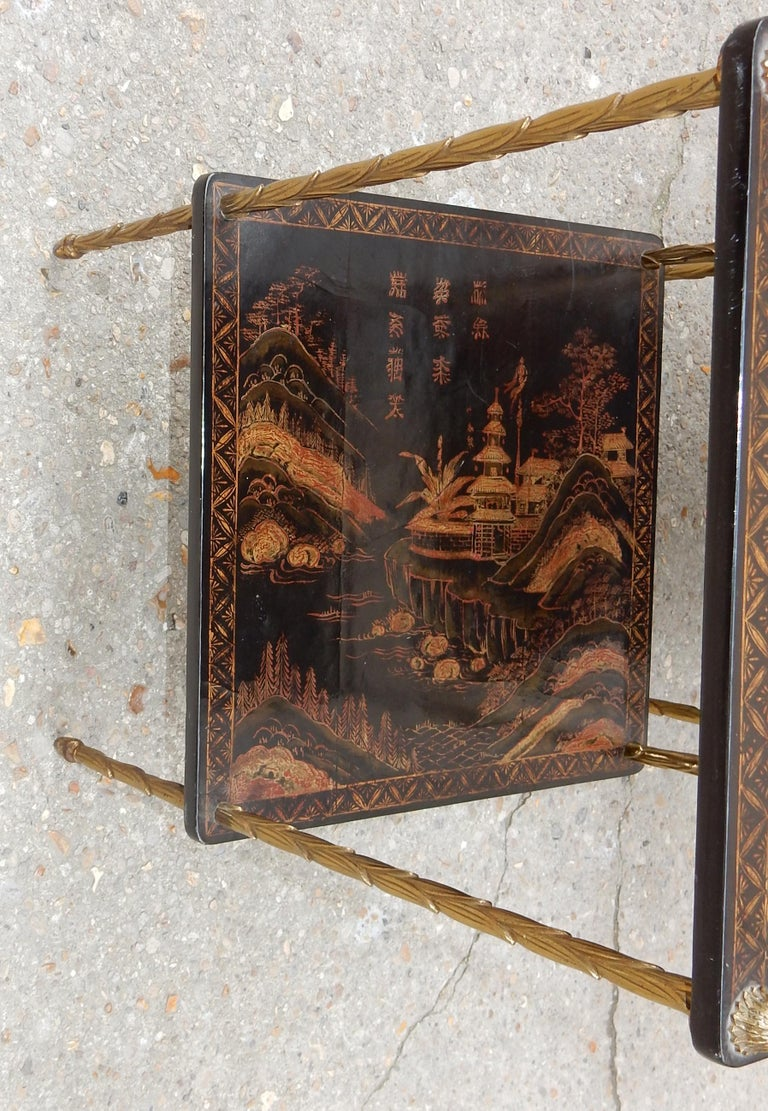 French 1950 ′ Pair of Maison Baguès Tables with Palm Tree Gilt Bronze + China Lacquer For Sale