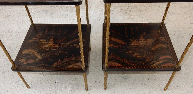 Late 20th Century 1950 ′ Pair of Maison Baguès Tables with Palm Tree Gilt Bronze + China Lacquer For Sale