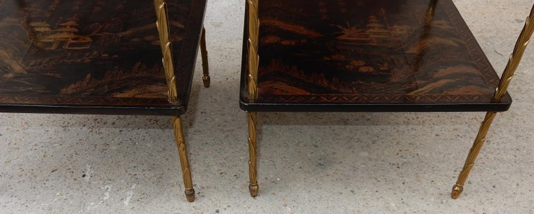 1950 ′ Pair of Maison Baguès Tables with Palm Tree Gilt Bronze + China Lacquer For Sale 1