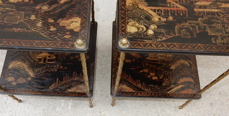 1950 ′ Pair of Maison Baguès Tables with Palm Tree Gilt Bronze + China Lacquer For Sale 2