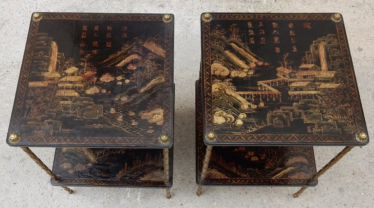 1950 ′ Pair of Maison Baguès Tables with Palm Tree Gilt Bronze + China Lacquer For Sale 3