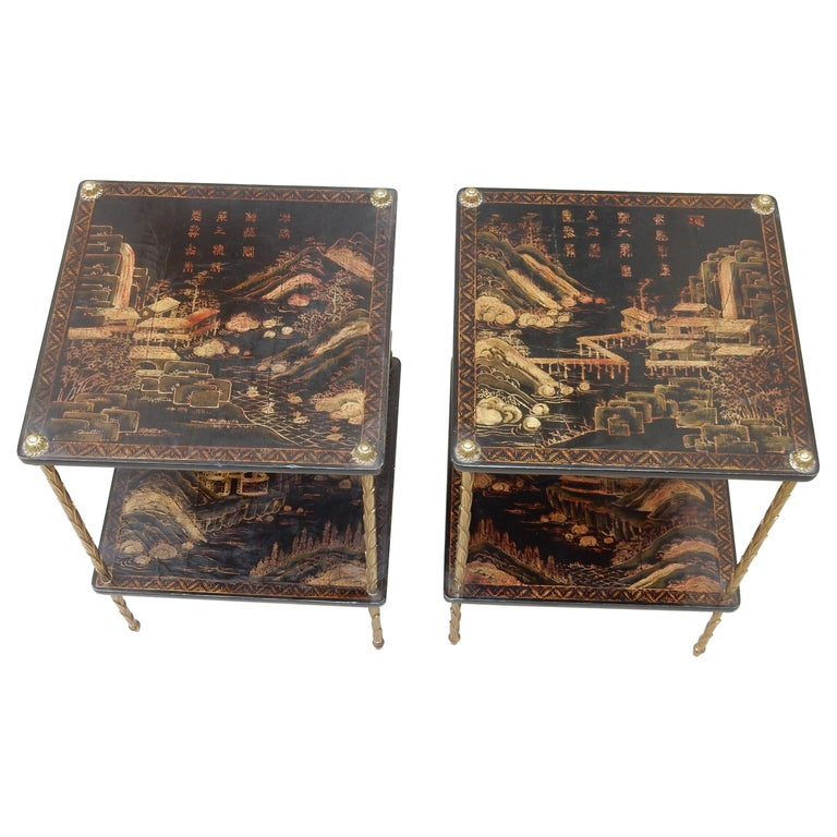 1950 ′ Pair of Maison Baguès Tables with Palm Tree Gilt Bronze + China Lacquer For Sale
