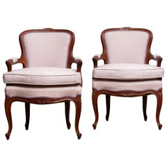 1950 Pair of Pink Swedish Rococo Bergères in the Shabby Chic Technique Chairs F