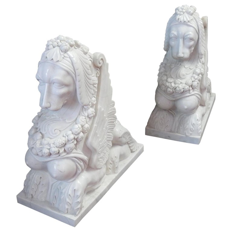 1950 Pair Of Statuary White Marble Sphin For