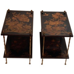 1950 Pair of Tables Style Maison Bagués Golden Bronze, Trays China Lacquer