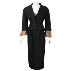 1950 Pierre Balmain Black & Nude Silk Cocktail Dress w/ Billow-Sleeve Jacket