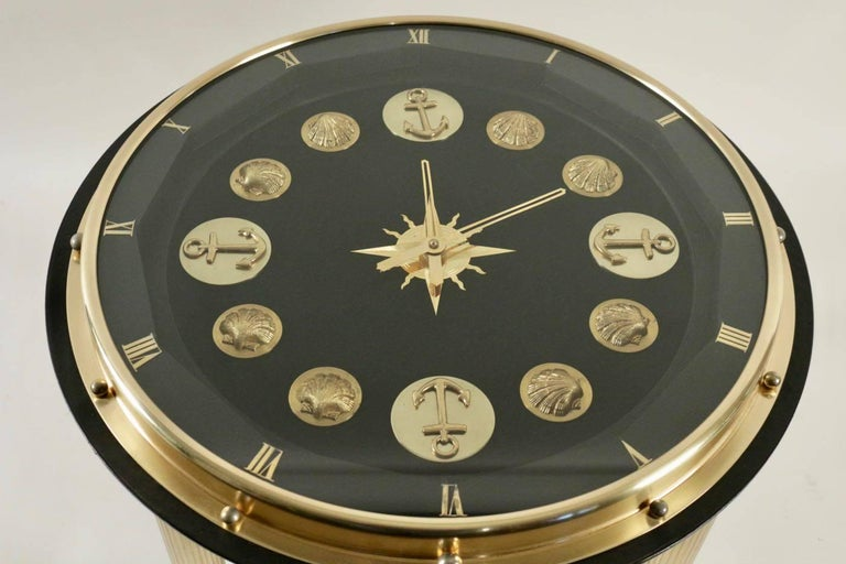 1950 Rare Jacques Adnet Marine Clock Gueridon In Excellent Condition For Sale In Saint-Ouen, FR