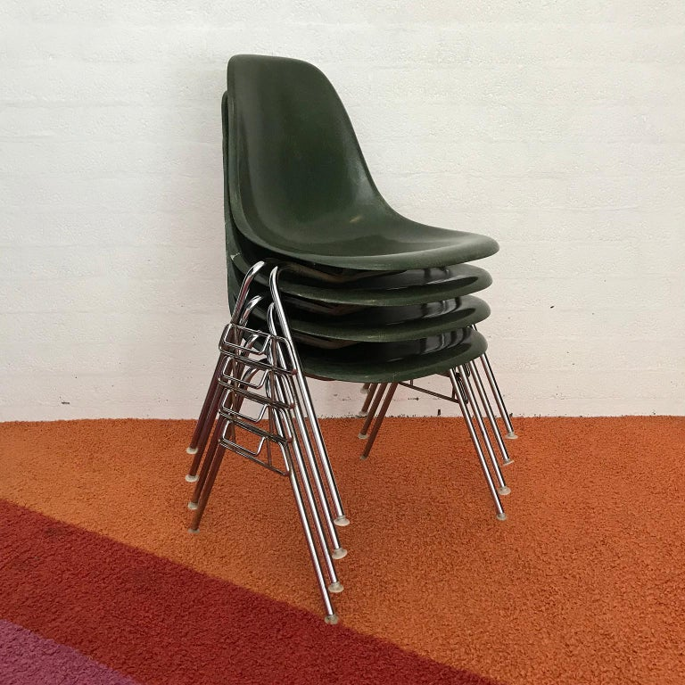 Set of four dining chairs in pine green by Herman Miller. The chairs show traces of use like some scratches on the shells and tiny damages. One shell has some damage on the back of the back (picture #10) and one has some damage like a crack on the