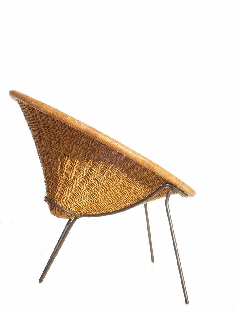 Mid-Century Modern 1950 Roberto Mango Italian Design Midcentury Rattan Wicker Armchair Lounge Chair For Sale