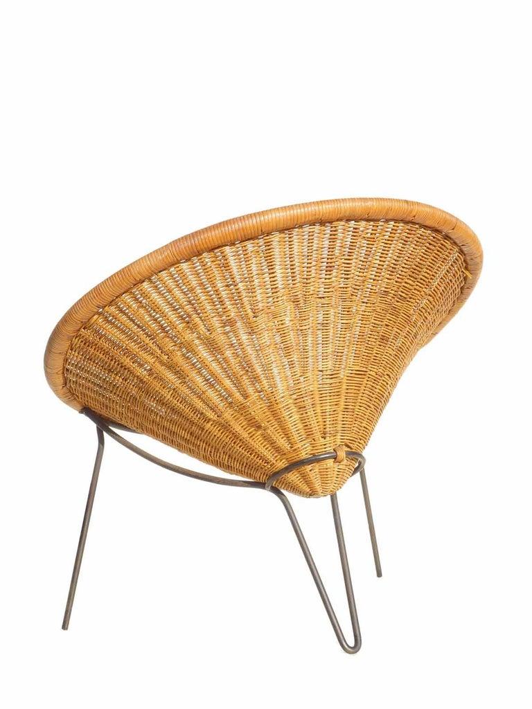 1950 Roberto Mango Italian Design Midcentury Rattan Wicker Armchair Lounge Chair In Excellent Condition For Sale In Brescia, IT