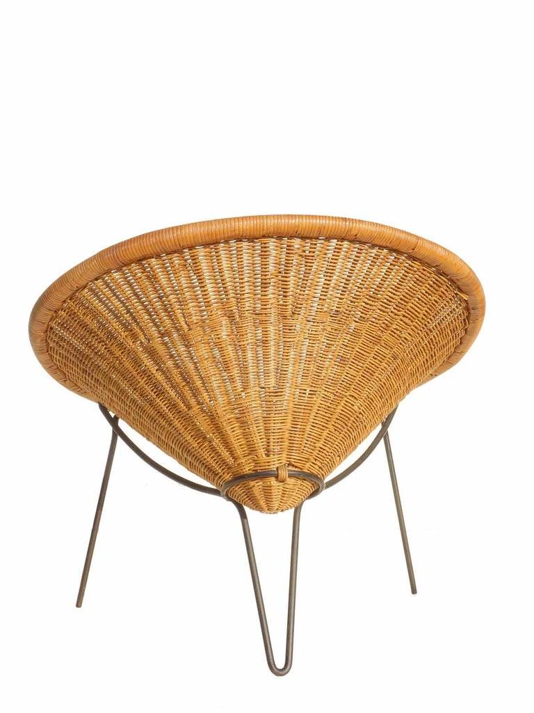 Mid-20th Century 1950 Roberto Mango Italian Design Midcentury Rattan Wicker Armchair Lounge Chair For Sale
