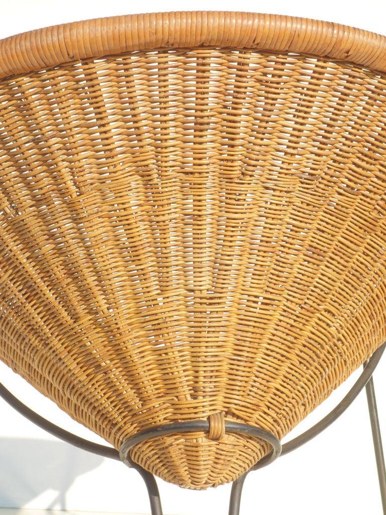 1950 Roberto Mango Italian Design Midcentury Rattan Wicker Armchair Lounge Chair For Sale 2