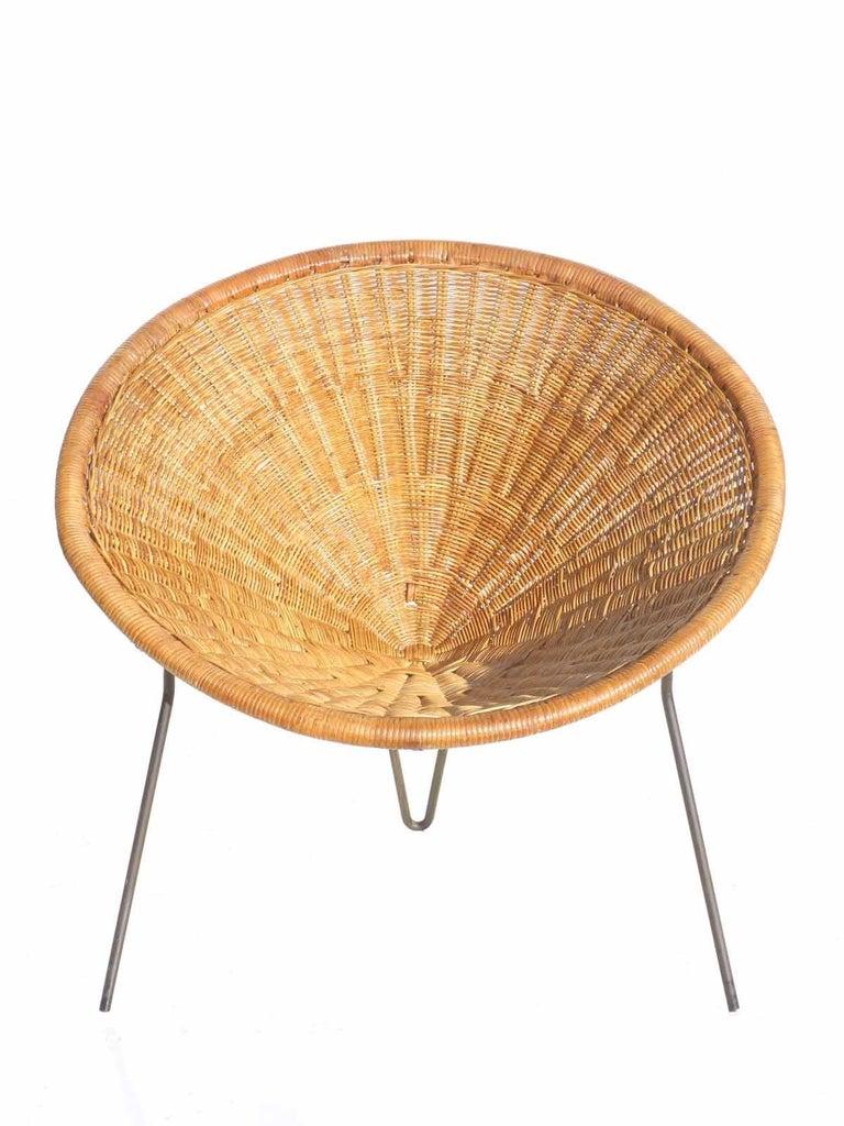 1950 Roberto Mango Italian Design Midcentury Rattan Wicker Armchair Lounge Chair For Sale 1