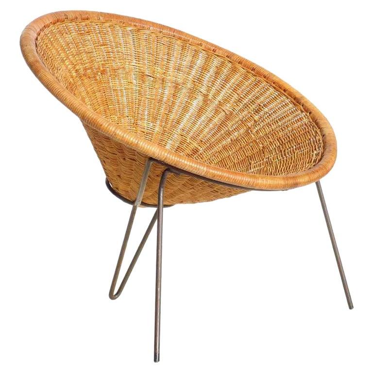 1950 Roberto Mango Italian Design Midcentury Rattan Wicker Armchair Lounge Chair For Sale