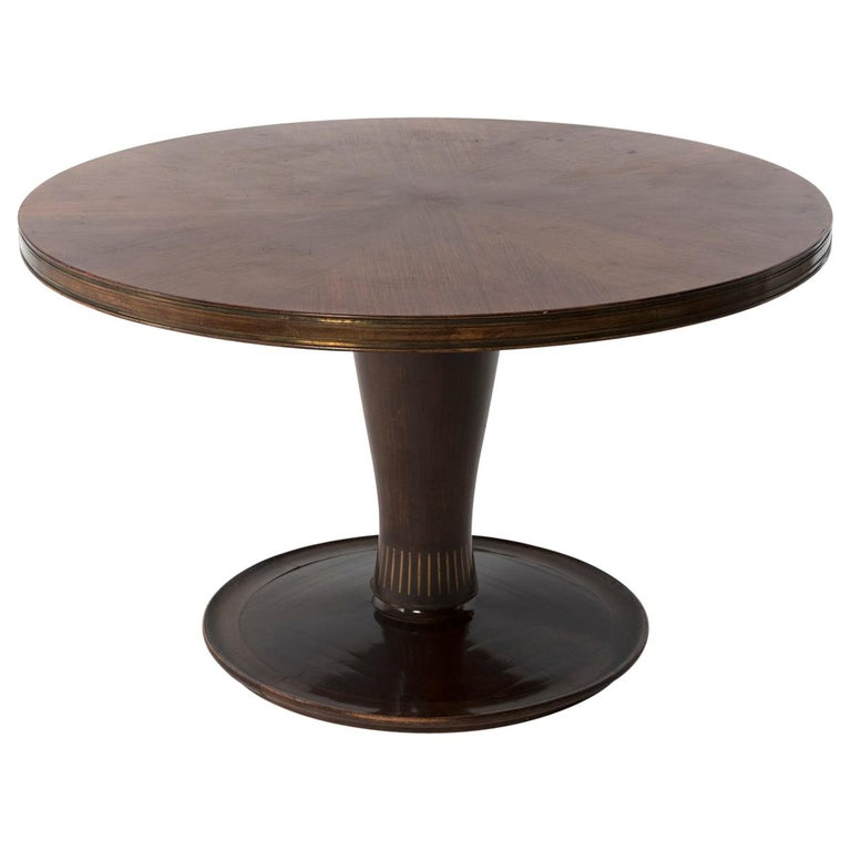 1950 Round Dining Table by Giovanni Gariboldi for Colli in Bubinga Wood For Sale