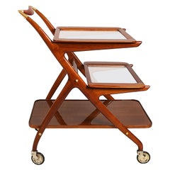 1950s Bar Cart by Cesare Lacca, Walnut, Removable Trays, Brass, Italy