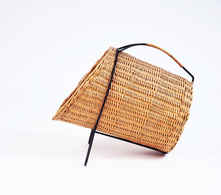 Scandinavian Modern 1950s Basket for Firewood or Magazines in Metal and Rattan from Sweden For Sale