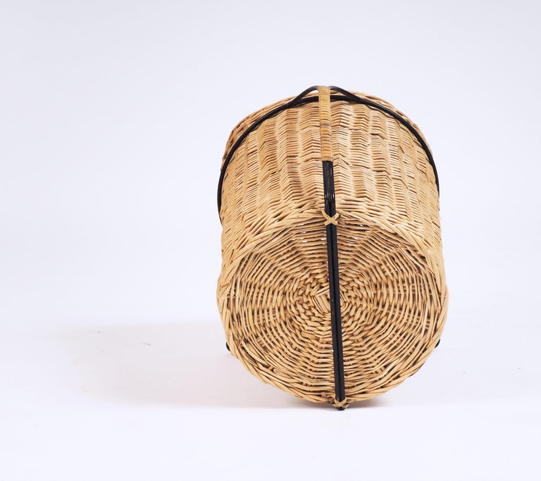 Swedish 1950s Basket for Firewood or Magazines in Metal and Rattan from Sweden For Sale