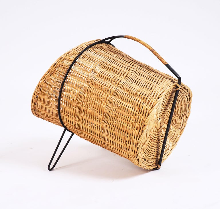 1950s Basket for Firewood or Magazines in Metal and Rattan from Sweden In Good Condition For Sale In Goteborg, SE
