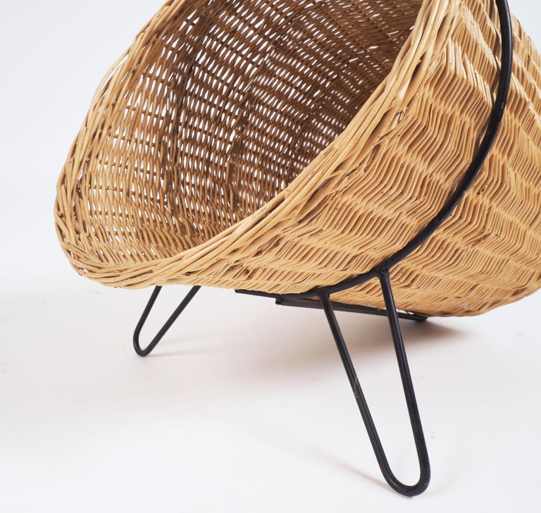 Mid-20th Century 1950s Basket for Firewood or Magazines in Metal and Rattan from Sweden For Sale