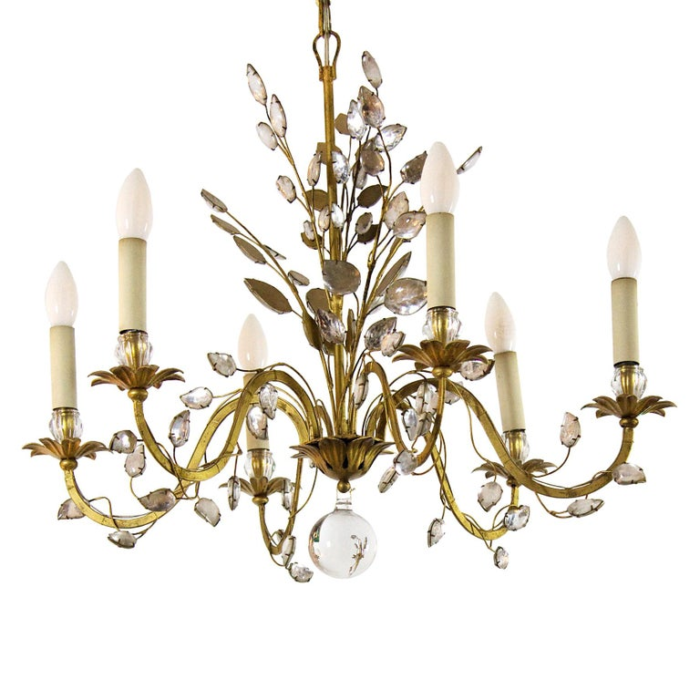 Ravishing chandelier, golden wrought iron, glass and glittered glass.  Maker: Maison Baguès, Paris  France, circa 1950.