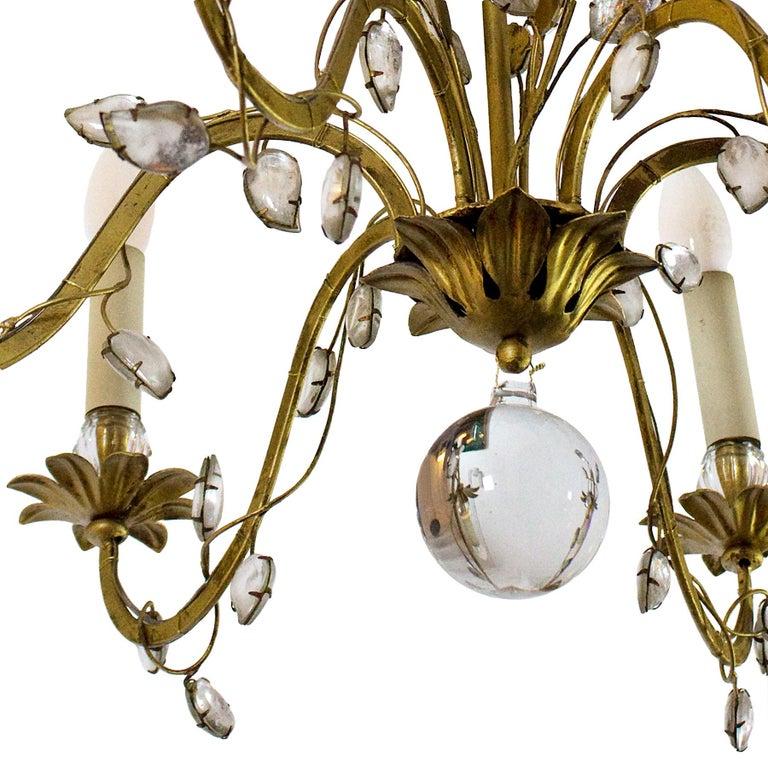 Mid-Century Modern 1950s Chandelier by Maison Baguès, Paris, Wrought Iron, Glass, France For Sale