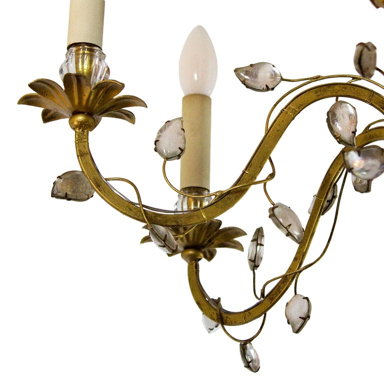 French 1950s Chandelier by Maison Baguès, Paris, Wrought Iron, Glass, France For Sale