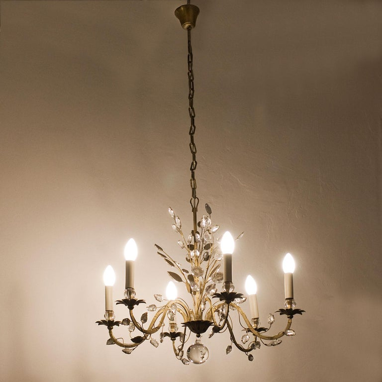 1950s Chandelier by Maison Baguès, Paris, Wrought Iron, Glass, France In Good Condition For Sale In Barcelona, ES