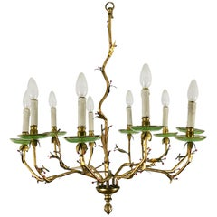 1950s Chandelier with Ten Branches, Golden Bronze and Engraved Glass, Spain