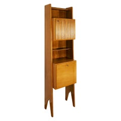1950´S Cherry Wood Bookcase, Shelves, Two Doors, Italy