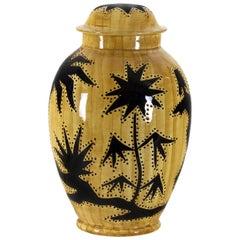 1950s Covered Pot Lamp by Grandjean-Jourdan, Perforated Ceramic, Vallauris