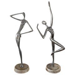 """1950´s """"Dancers"""", Nickel-Plated Bronze, Marble, Spain"""