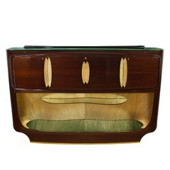 1950s Dry Bar by v. Dassi for Mobile Cantù, Mahogany, Sycamore, Opaline, Italy